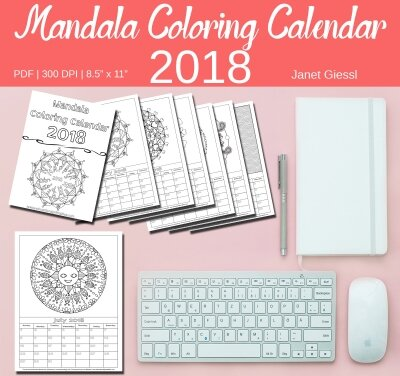 Free April 2018 Mandala Coloring Calendar Page